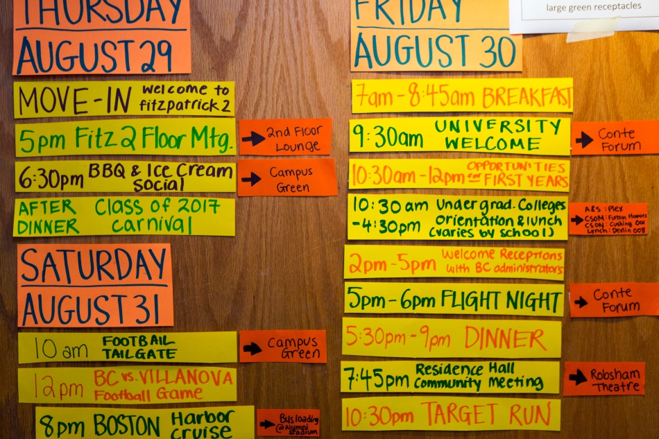 Image of move in schedule for boston college campus