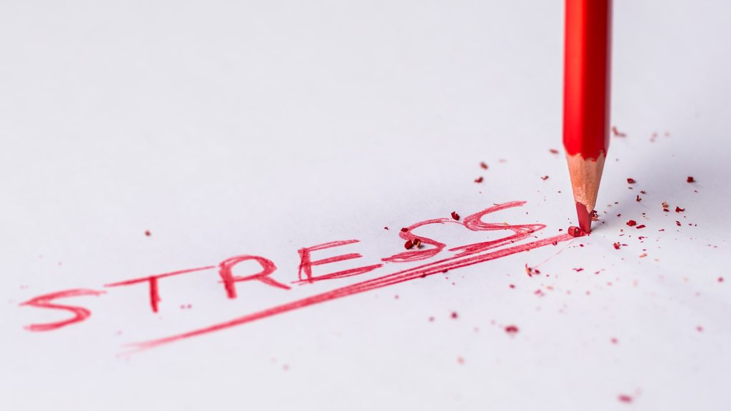 close up of the word stress