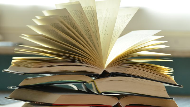 Image of a pile of books. The top book is open with the pages fanning out.